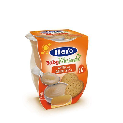 HERO Baby merienda natillas con galleta maría tarrito 2x130 gr