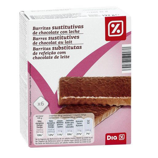 DIA barritas sustitutivas crujientes de chocolate con leche caja 6 uds