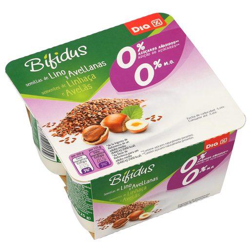 DIA bífidus con semillas de lino y avellanas 0% M.G pack 4 unidades 125 gr