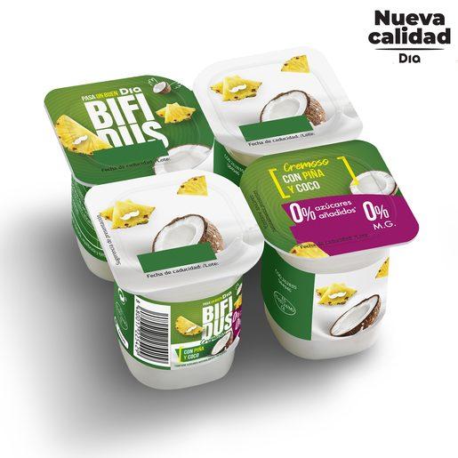 DIA BÍFIDUS cremoso con piña y coco 0 % pack 4 unidades 125 gr