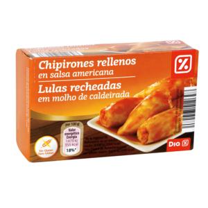 DIA chipirones rellenos en salsa americana lata 72 gr