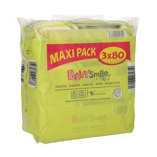 BABYSMILE toallitas para bebés pack 3x80 uds