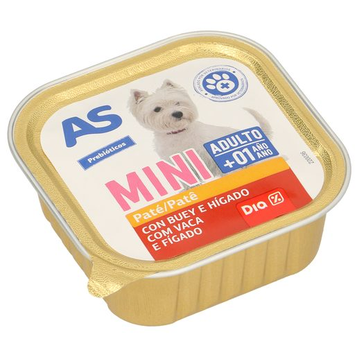 AS paté para perros mini adulto con buey e hígado tarrina 150 gr