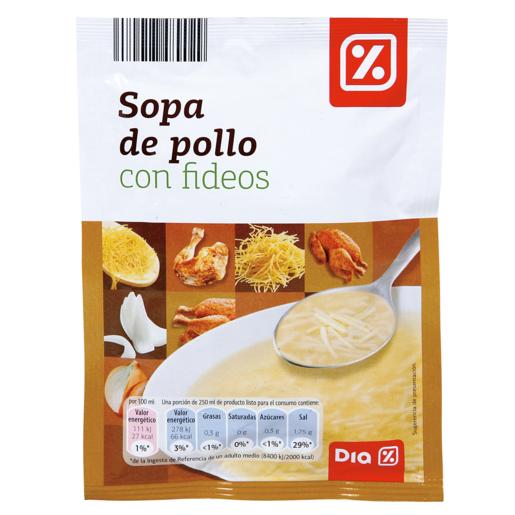 DIA sopa de pollo con fideos sobre 72GRS
