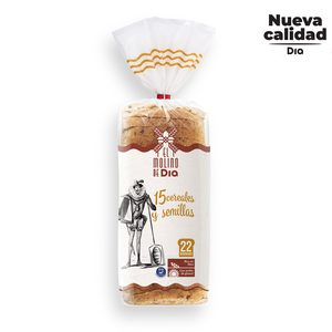 EL MOLINO DE DIA pan de molde integral 15 cereales y semillas bolsa 675 gr