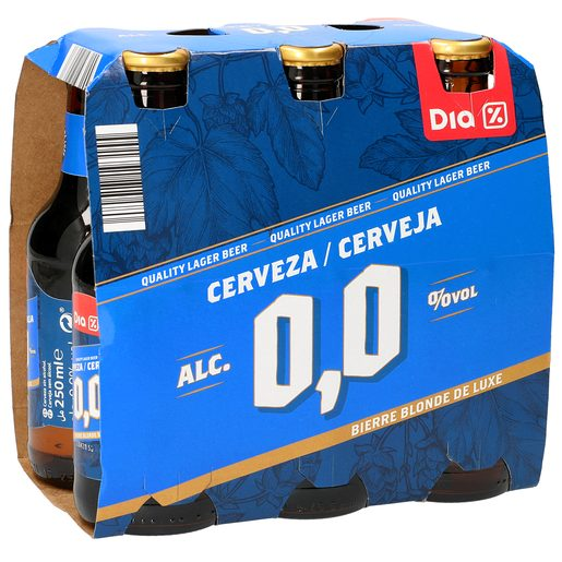 DIA cerveza rubia 0,0% alcohol pack 6 botellas 25 cl