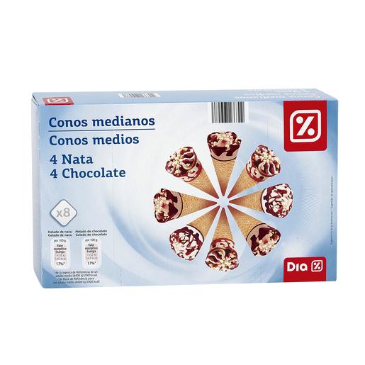 DIA helado conos medianos nata y chocolate caja 8 uds 280 gr