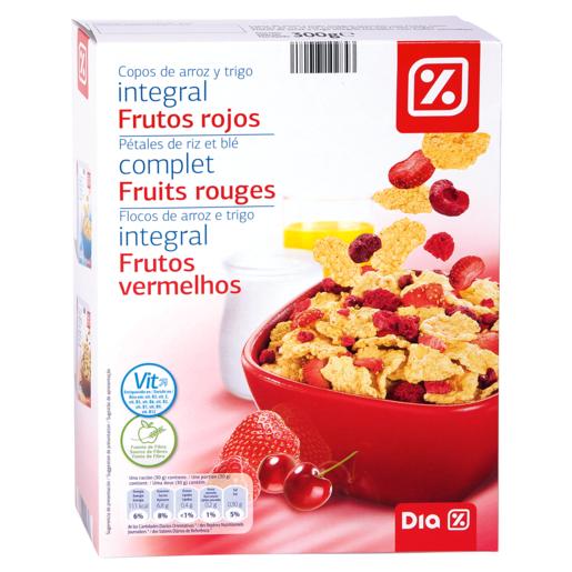 DIA cereales copos de arroz y trigo integral con frutos rojos paquete 300gr