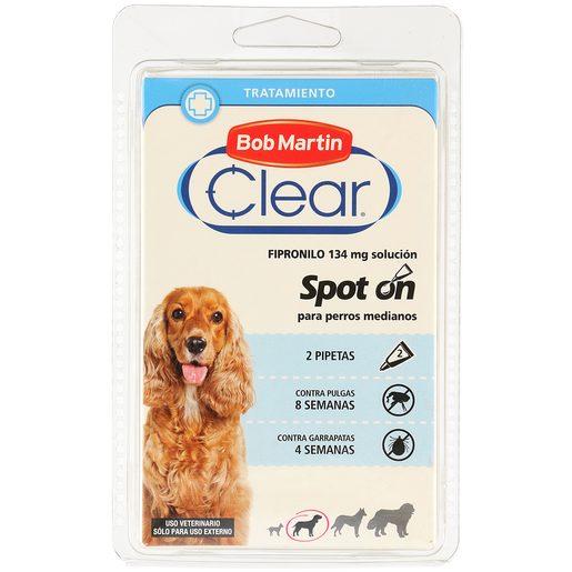 BOB MARTIN Clear pipeta tratamiento para perros anti pulgas y garrapatas 2 uds