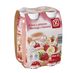 DIA yogur líquido fresa y plátano pack 4 botellas 180 gr
