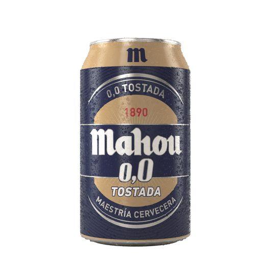 MAHOU cerveza tostada 0,0% alcohol lata 33 cl