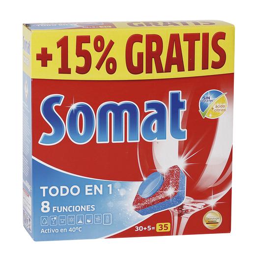 SOMAT lavavajillas máquina todo en uno en cápsulas caja 30 + 5 uds