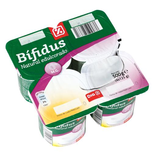 DIA yogur bífidus natural 0% edulcorado pack 4 unidades 125 g