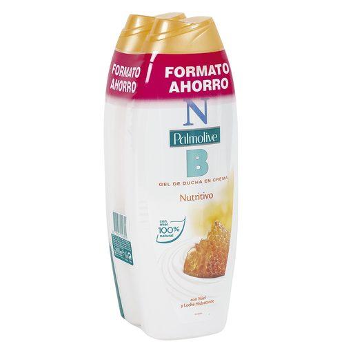 PALMOLIVE NB gel de ducha en crema nutritivo con leche y miel bote 2 x 600 ml