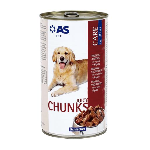 AS trocitos jugosos para perros con pavo e hígado lata 1.240 Kg
