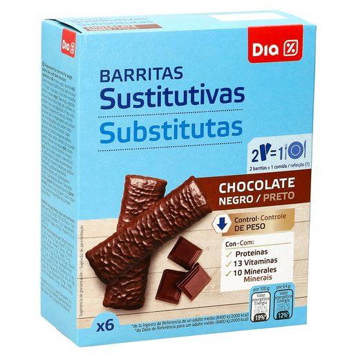 DIA VITAL barritas sustitutivas chocolate negro caja 6 uds 192 gr