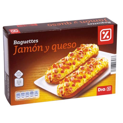 DIA baguette jamón y queso pack 2 uds