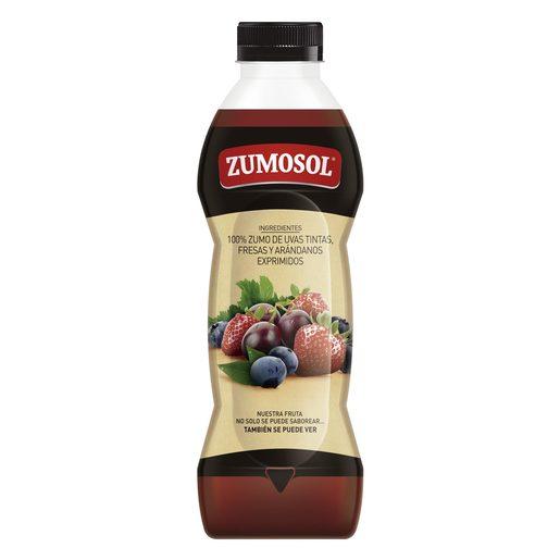 ZUMOSOL zumo exprimido de uvas, fresas y arándanos botella 850 ml
