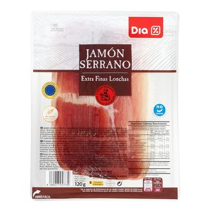 DIA jamón serrano lonchas extra finas sobre 120 gr