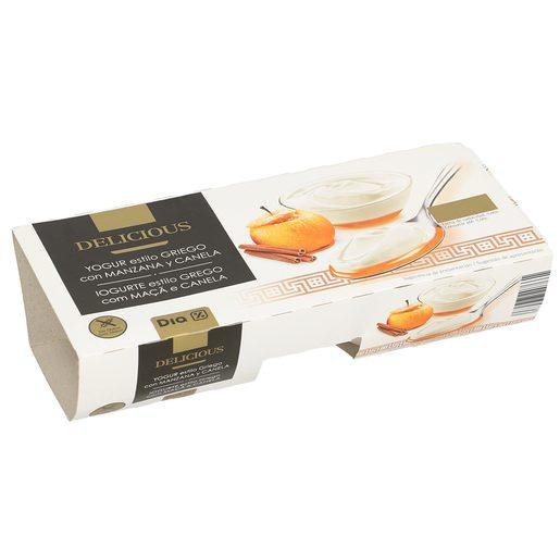 DIA DELICIOUS yogur al estilo griego con canela y manzana pack 2 unidades 125 gr