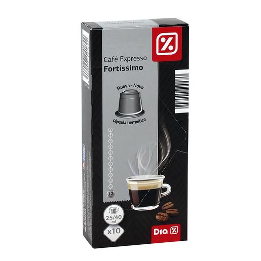 DIA café expresso fortissimo 10 cápsulas caja 53 gr