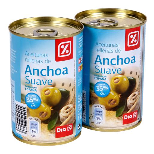 DIA aceitunas rellenas de anchoa suave pack 2 latas 130 gr