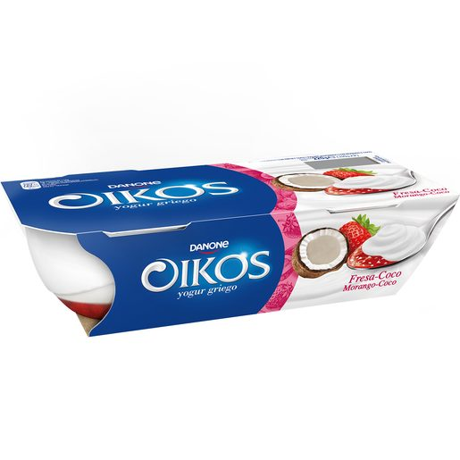 DANONE OIKOS yogur griego con fresa y coco pack 2 unidades 110 gr