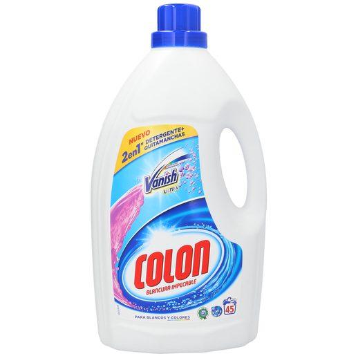 COLON detergente máquina líquido + quitamanchas vanish 2 en 1 botella 45 lv
