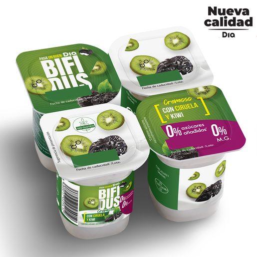 DIA BÍFIDUS cremoso con ciruela y kiwi 0 % pack 4 unidades 125 gr