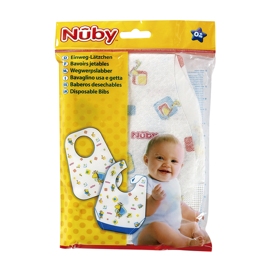 NUBY baberos desechables de algodón +0 meses paquete 10 uds