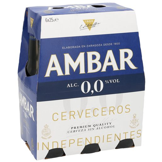 AMBAR cerveza 0,0% alcohol pack 6 botellas 25 cl