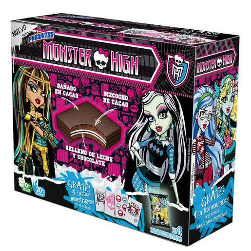 PHOSKITOS Monster high bizcocho relleno de leche y chocolate caja 4 uds