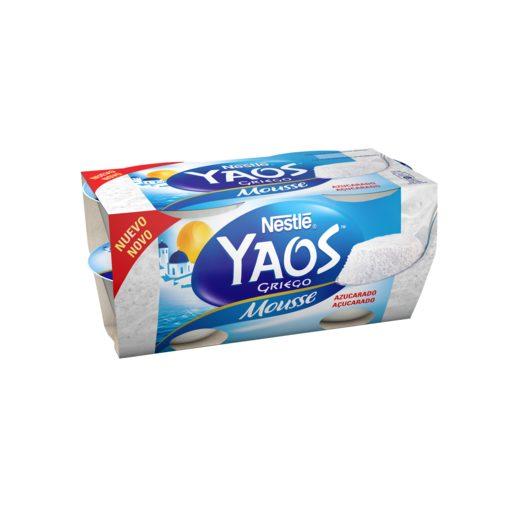 YAOS mousse de yogur griego azucarado pack 4 unidades 70 gr