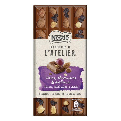 NESTLE Chocolateria chocolate con leche con pasas, avellanas y almendras 100 gr