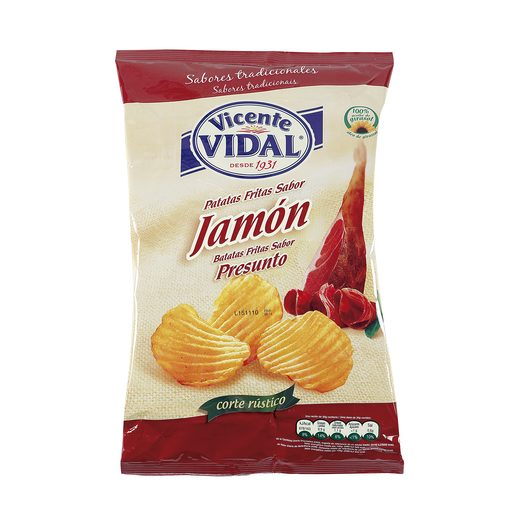 VICENTE VIDAL patatas fritas onduladas jamón bolsa 135 gr