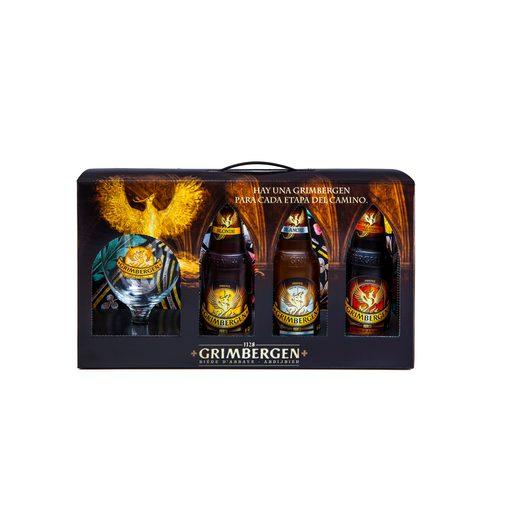 GRIMBERGEN pack 3 cervezas botella 33 cl + copa