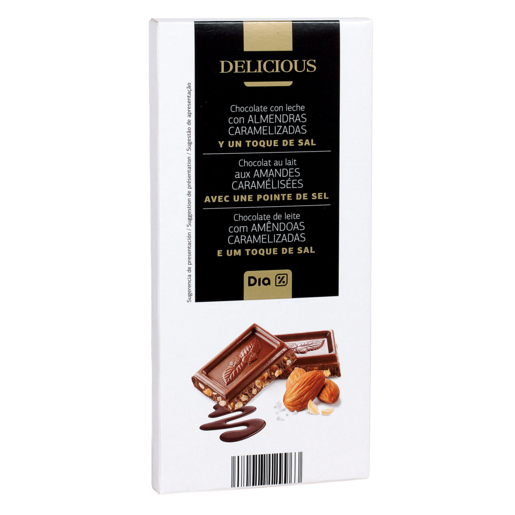 DIA DELICIOUS chocolate con leche y almendras caramelizadas con sal 200 gr