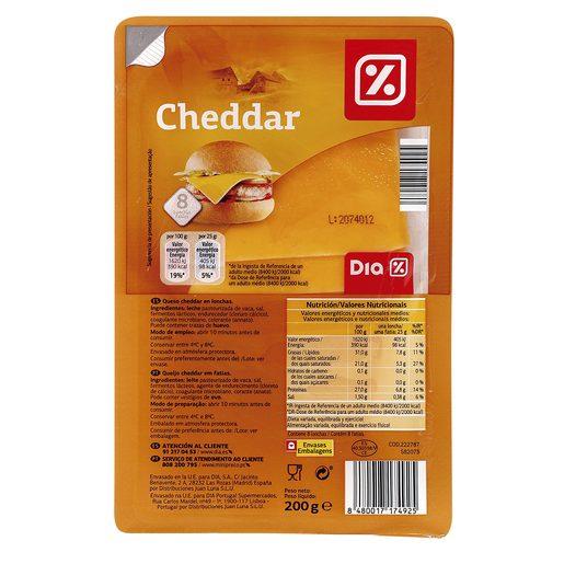 DIA queso cheddar en lonchas envase 200 gr