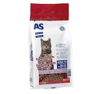 AS alimento para gatos control tracto urinario con conejo, arroz y guisantes bolsa 1.5 Kg