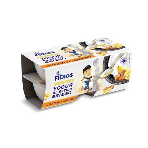DIA FIDIAS yogur griego con plátano y caramelo pack 4 unidades 125 gr