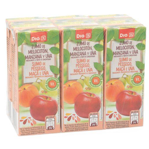 DIA zumo melocotón manzana y uva pack 6 unidades 200 ml