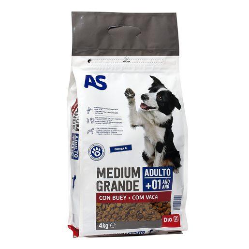 AS alimento para perros medianos con buey bolsa 4 Kg