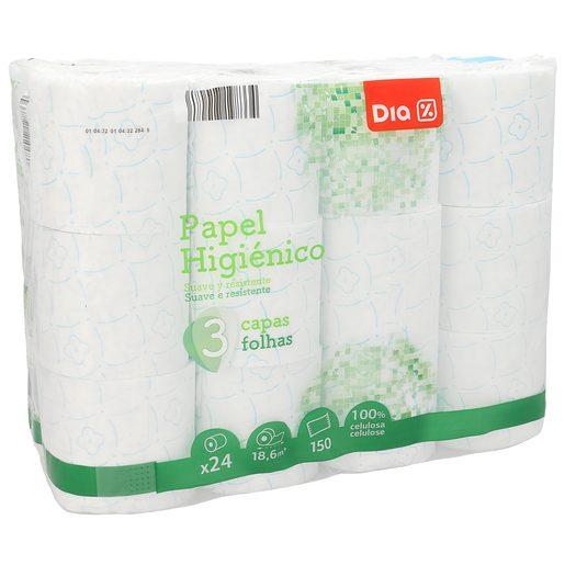 DIA papel higiénico 3 capas suave y resistente paquete 24 uds