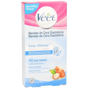 VEET Easy gelwax bandas de cera depilatoria piel sensible caja 40 uds