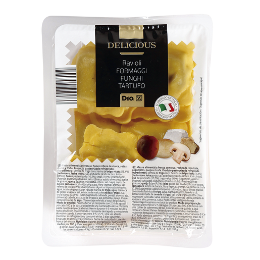 DIA DELICIOUS ravioli queso seta y trufa bandeja 250 gr