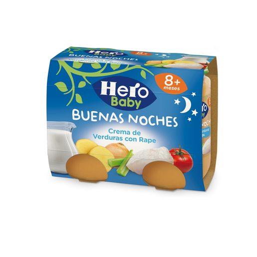 HERO Baby buenas noches crema de verduras con rape tarrito 2x190 gr