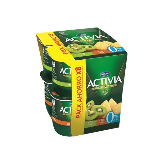DANONE ACTIVIA bífidus de piña y kiwi 0% M.G pack 8 unidades 125 gr