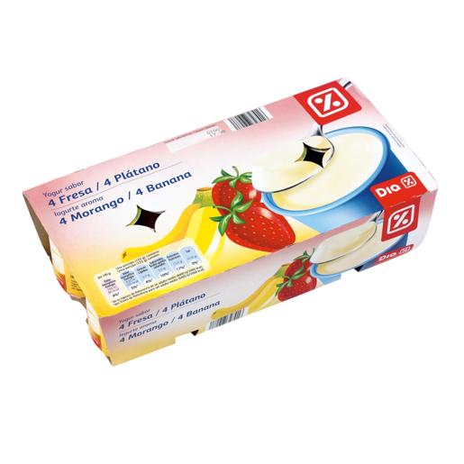 DIA yogur fresa-plátano pack 8 unidades 125 g
