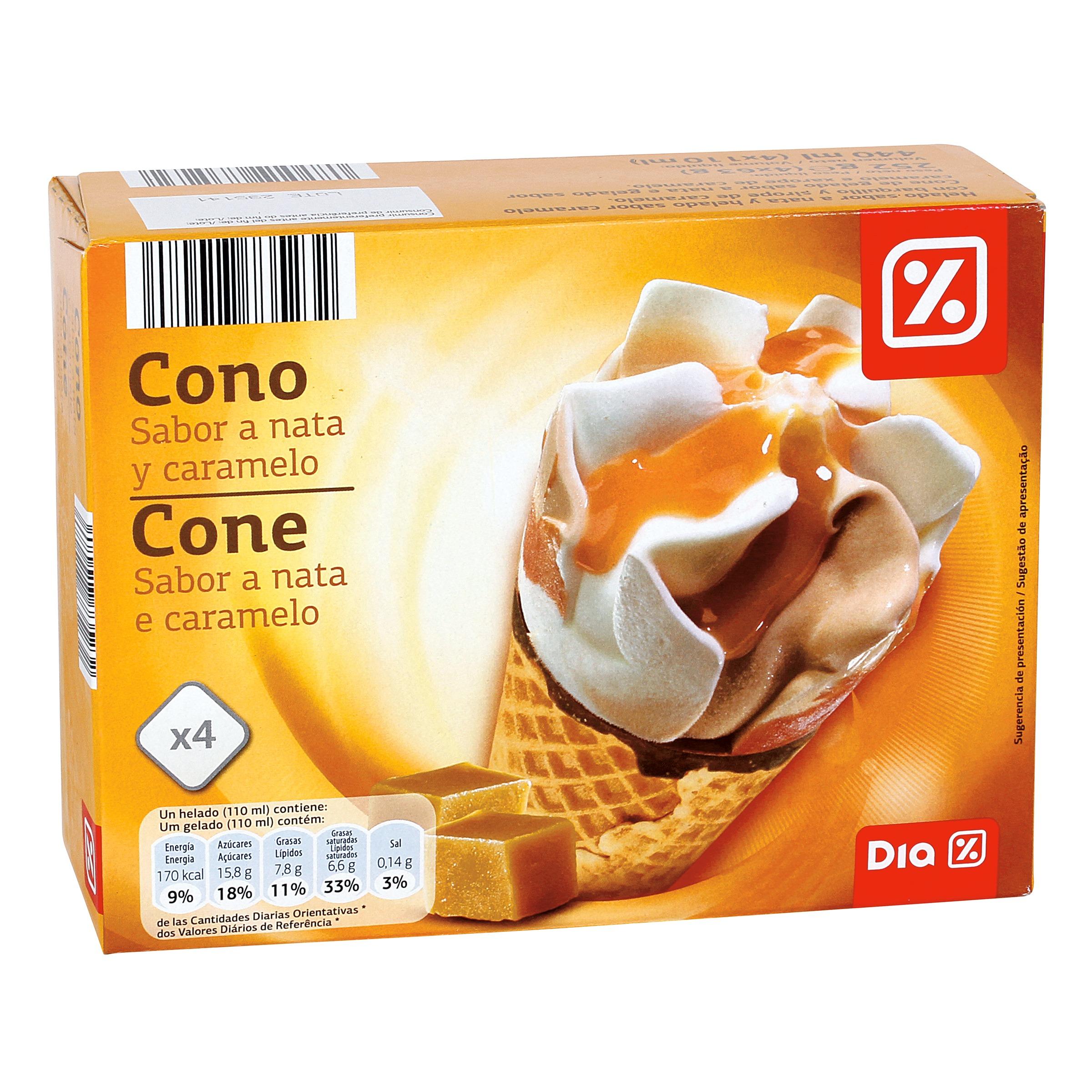 Dia helado conos nata y caramelo pack 4 uds conos - Calorias de un cono de helado ...