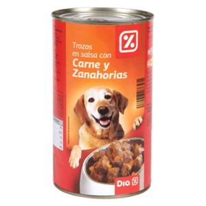 DIA alimento para perros trozos en salsa con carne y zanahorias lata 1250 gr